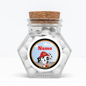 """Fire Truck Personalized 3"""" Glass Hexagon Jars (Set of 12)"""