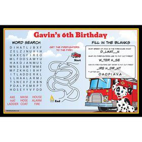 Fire Truck Personalized Activity Mat (8 Pack)