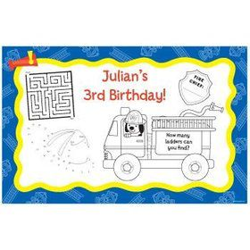 Fire Truck Personalized Activity Mats (8-pack)