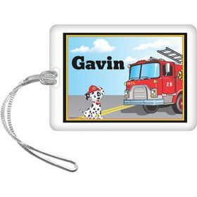 Fire Truck Personalized Bag Tag (each)
