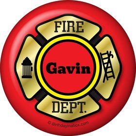 Fire Truck Personalized Button (Each)