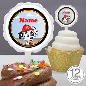 Fire Truck Personalized Cupcake Picks (12 Count)S