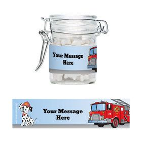 Fire Truck Personalized Glass Apothecary Jars (10 Count)S