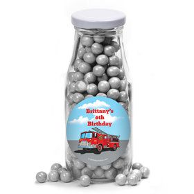 Fire Truck Personalized Glass Milk Bottles (12 Count)S