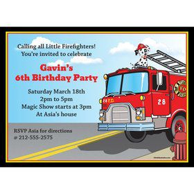 Fire Truck Personalized Invitation (Each)