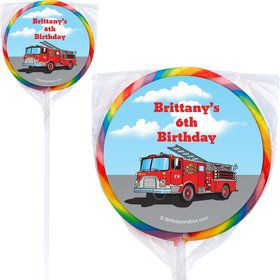 Fire Truck Personalized Lollipops (12 Pack)