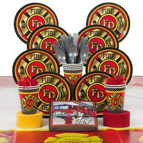 Firefighter Birthday Party Deluxe Tableware Kit Serves 8