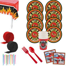Firefighter Birthday Party Standard Tableware Kit (Serves 8)