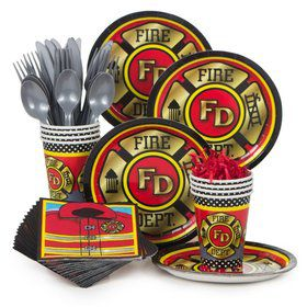 Firefighter Birthday Party Standard Tableware Kit Serves 8