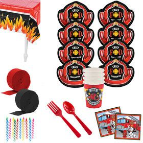 Firefighter Party Deluxe Tableware Kit (Serves 8)