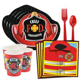 Firefighter Party Standard Tableware Kit (Serves 8)