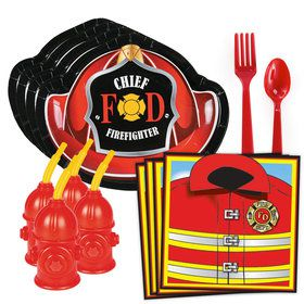 Firefighter Party Standard Tableware Kit With Fire Hydrant Cups (Serves 8)