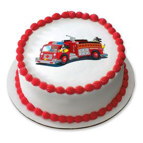"Firetruck 7.5"" Round Edible Cake Topper (Each)"