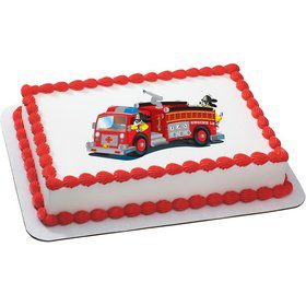 Firetruck Quarter Sheet Edible Cake Topper (Each)