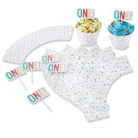 First Birthday Cupcake Kit Toppers and Wrappers (For 12)