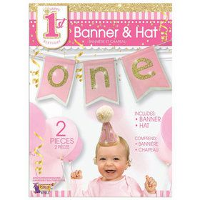 First Birthday Girl Banner & Hat Set