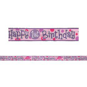 First Birthday Ladybug 12' Foil Banner (Each)