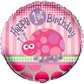 "First Birthday Ladybug 18"" Foil Balloon (Each)"