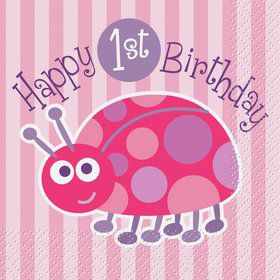 First Birthday Ladybug Beverage Napkins (16-pack)