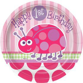 First Birthday Ladybug Cake Plates (8-pack)