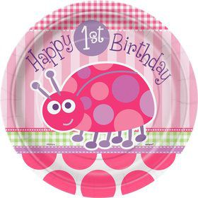 First Birthday Ladybug Dinner Plates (8-pack)