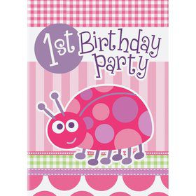 First Birthday Ladybug Invitations (8-pack)