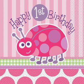 First Birthday Ladybug Luncheon Napkins (16-pack)