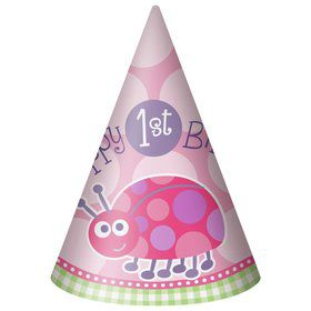 First Birthday Ladybug Party Hats (8-pack)