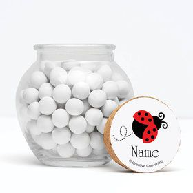 "First Birthday Ladybug Personalized 3"" Glass Sphere Jars (Set of 12)"