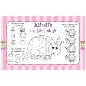 First Birthday Ladybug Personalized Activity Mat (8 pack)