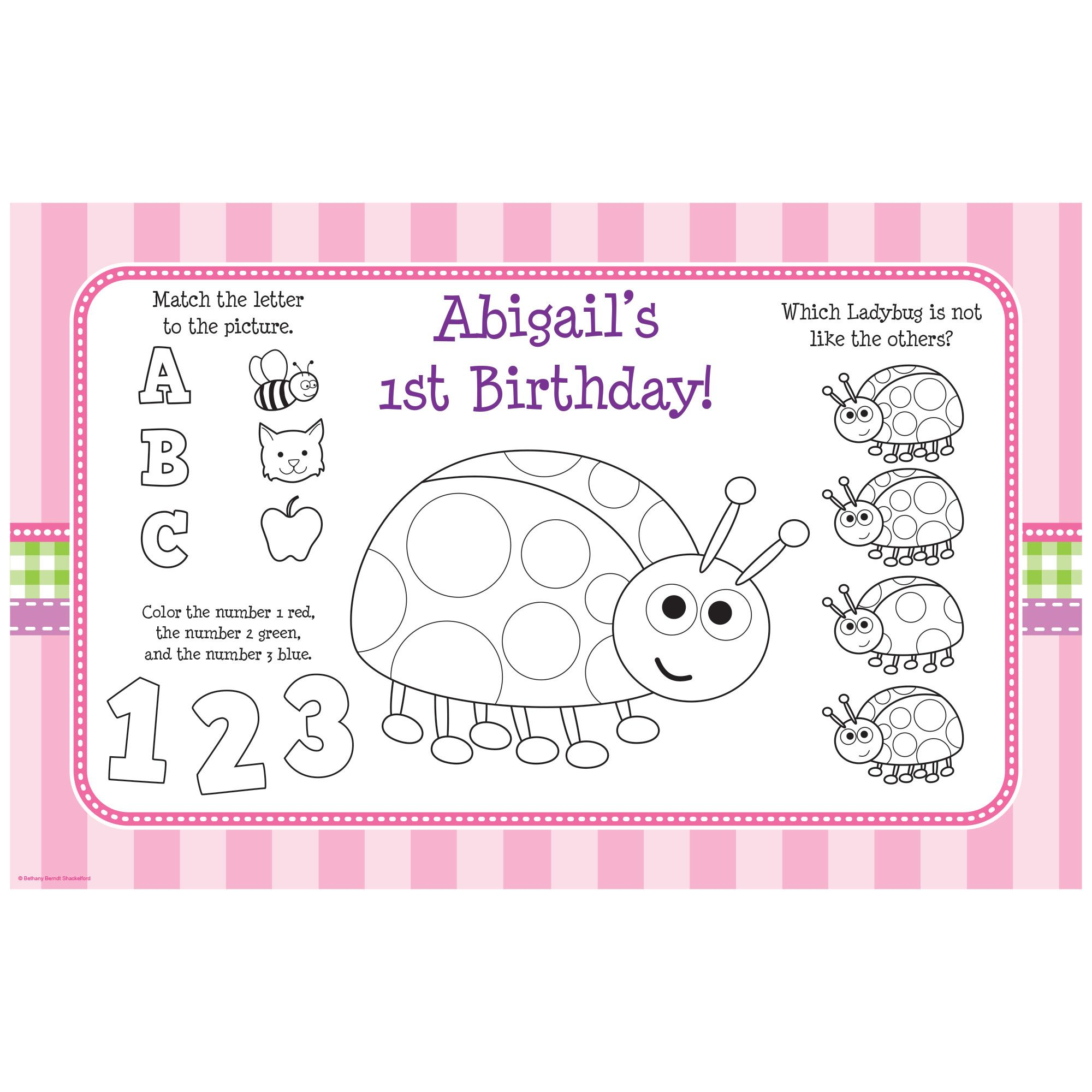 First Birthday Ladybug Personalized Activity Mat (8 Pack) BB101665
