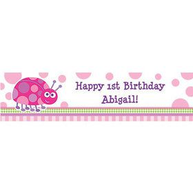First Birthday Ladybug Personalized Banner (each)