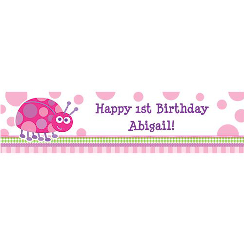 First Birthday Ladybug Personalized Bann - Party Supplies BB101667