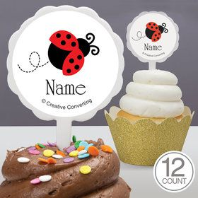 First Birthday Ladybug Personalized Cupcake Picks (12 Count)