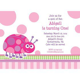First Birthday Ladybug Personalized Invitation (each)