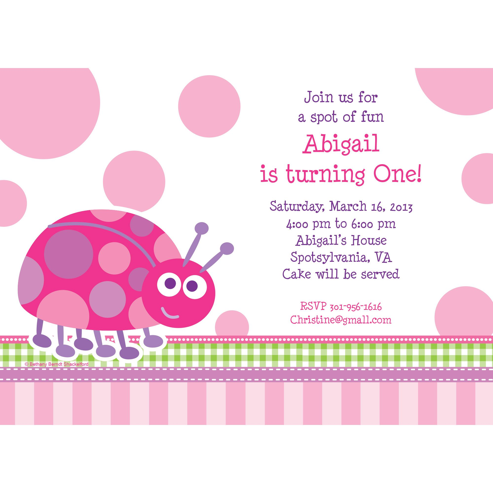 First Birthday Ladybug Personalized Invitation (Each) BB101654