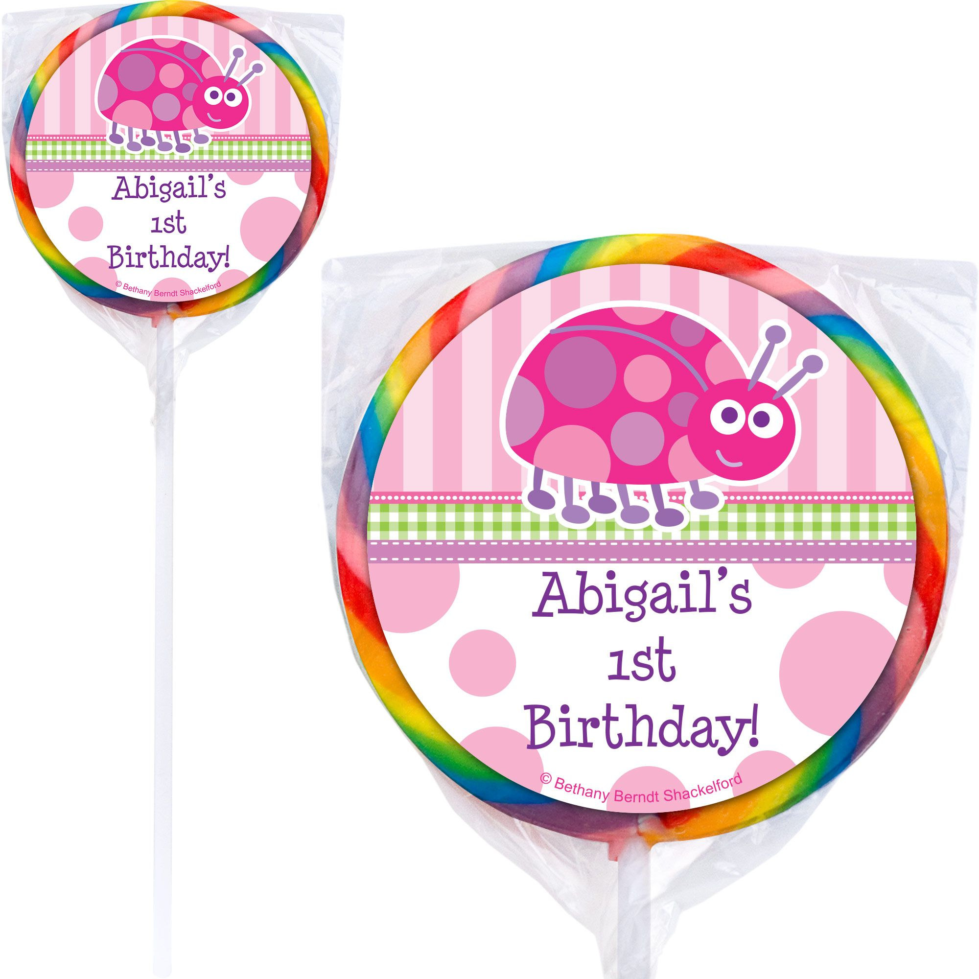 First Birthday Ladybug Personalized Lollipop (pack of 12) BB101657-P