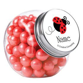 First Birthday Ladybug Personalized Plain Glass Jars (12 Count)