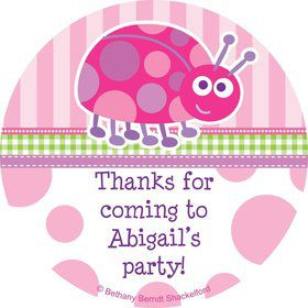 First Birthday Ladybug Personalized Sticker (sheet of 12)