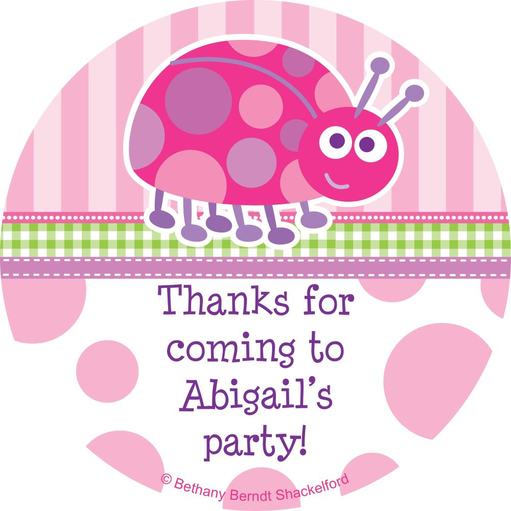 First Birthday Ladybug Personalized Sticker - Party Supplies BB101656