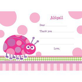 First Birthday Ladybug Personalized Thank You Note