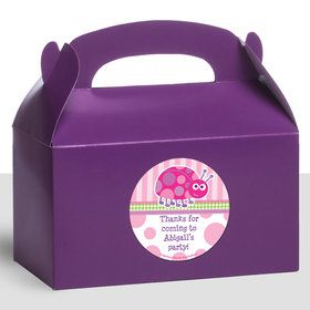 First Birthday Ladybug Personalized Treat Favor Boxes (12 Count)