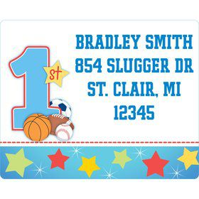 First Birthday Sport Star Personalized Address Labels (Sheet of 15)