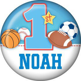First Birthday Sport Star Personalized Mini Button (each)