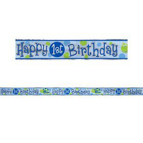 First Birthday Turtle 12' Foil Banner (Each)
