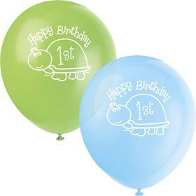 "First Birthday Turtle 12"" Latex Balloons (8-pack)"