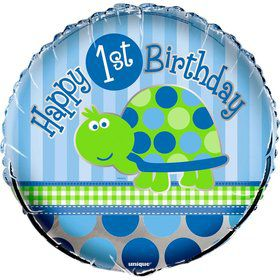 "First Birthday Turtle 18"" Foil Balloon (Each)"