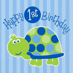 First Birthday Turtle Beverage Napkins (16-pack)