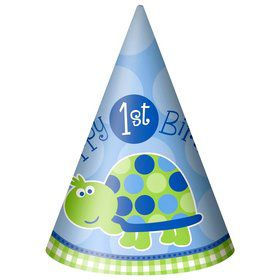 First Birthday Turtle Party Hats (8-pack)