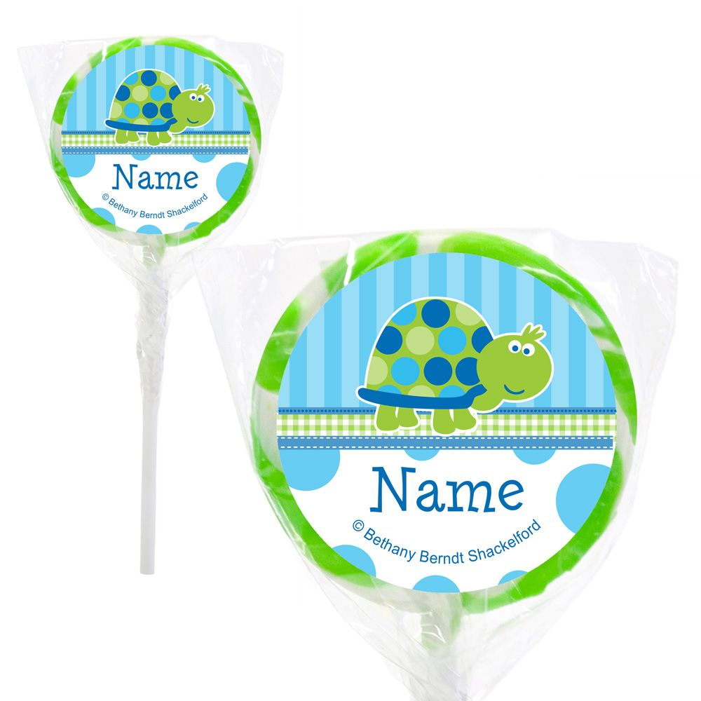 "First Birthday Turtle Personalized 2"" Lollipops (20 Pack) - Party Supplies BB101686PPS"